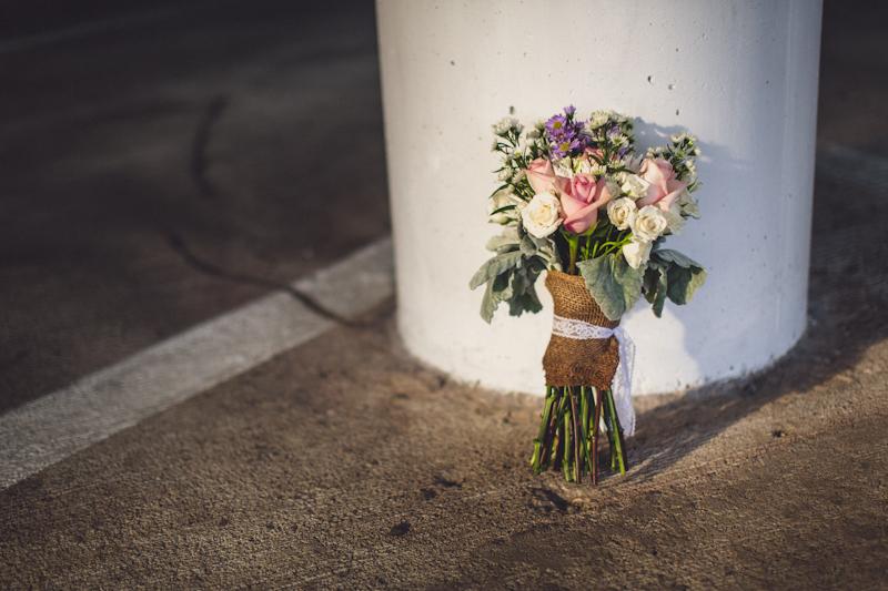 Wedding bouquet in parking lot