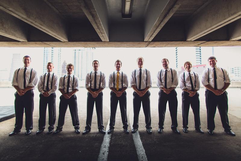 Groomsmen photos in downtown Austin garage