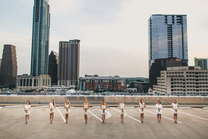 Bridesmaids photos in downtown Austin garage