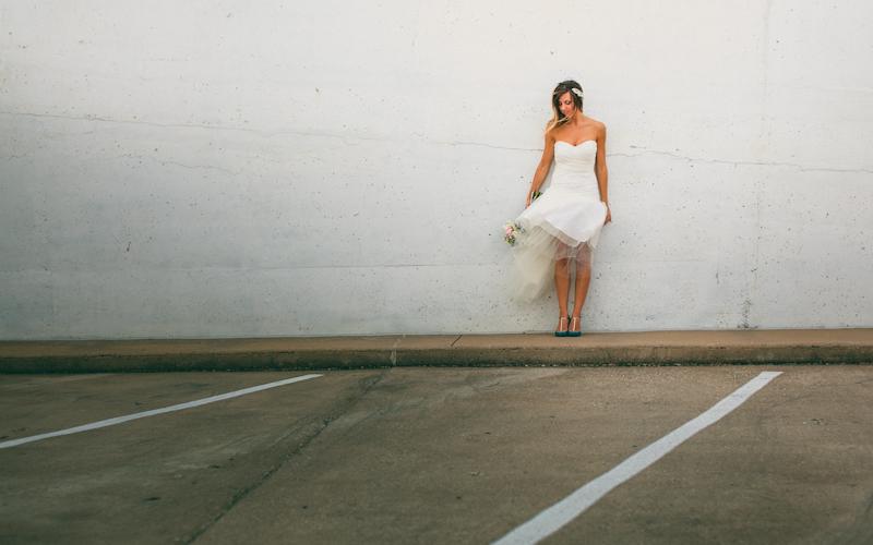 Austin bride portraits on parking deck