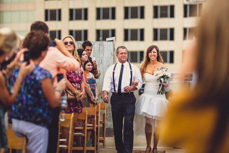 Downtown parking garage Austin wedding