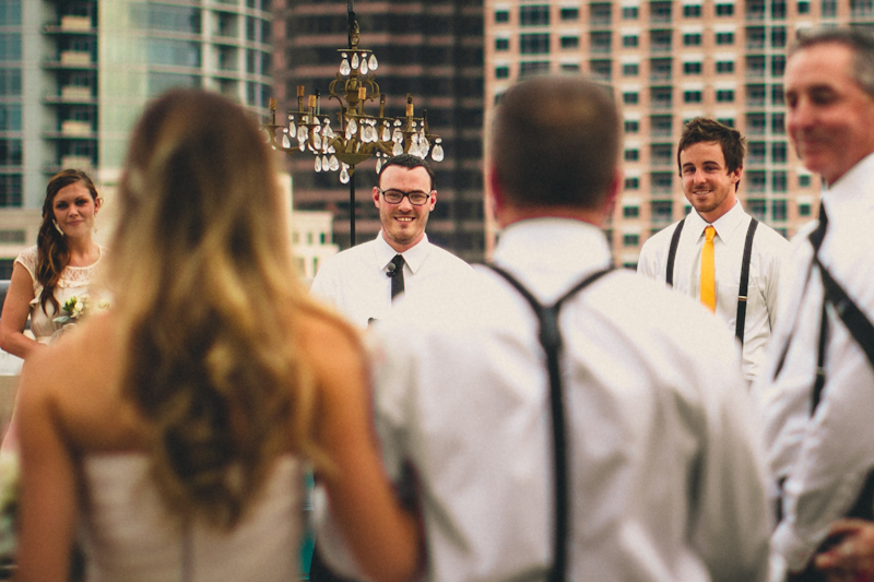 Downtown Austin parking lot wedding