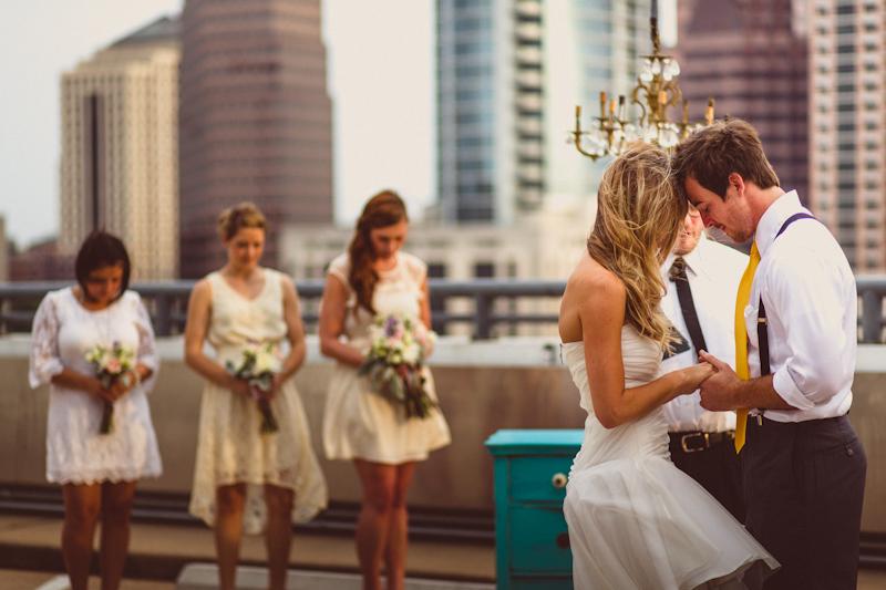 Parking deck wedding ceremony in Austin