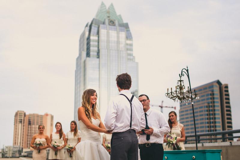 Parking garage wedding ceremony in Austin