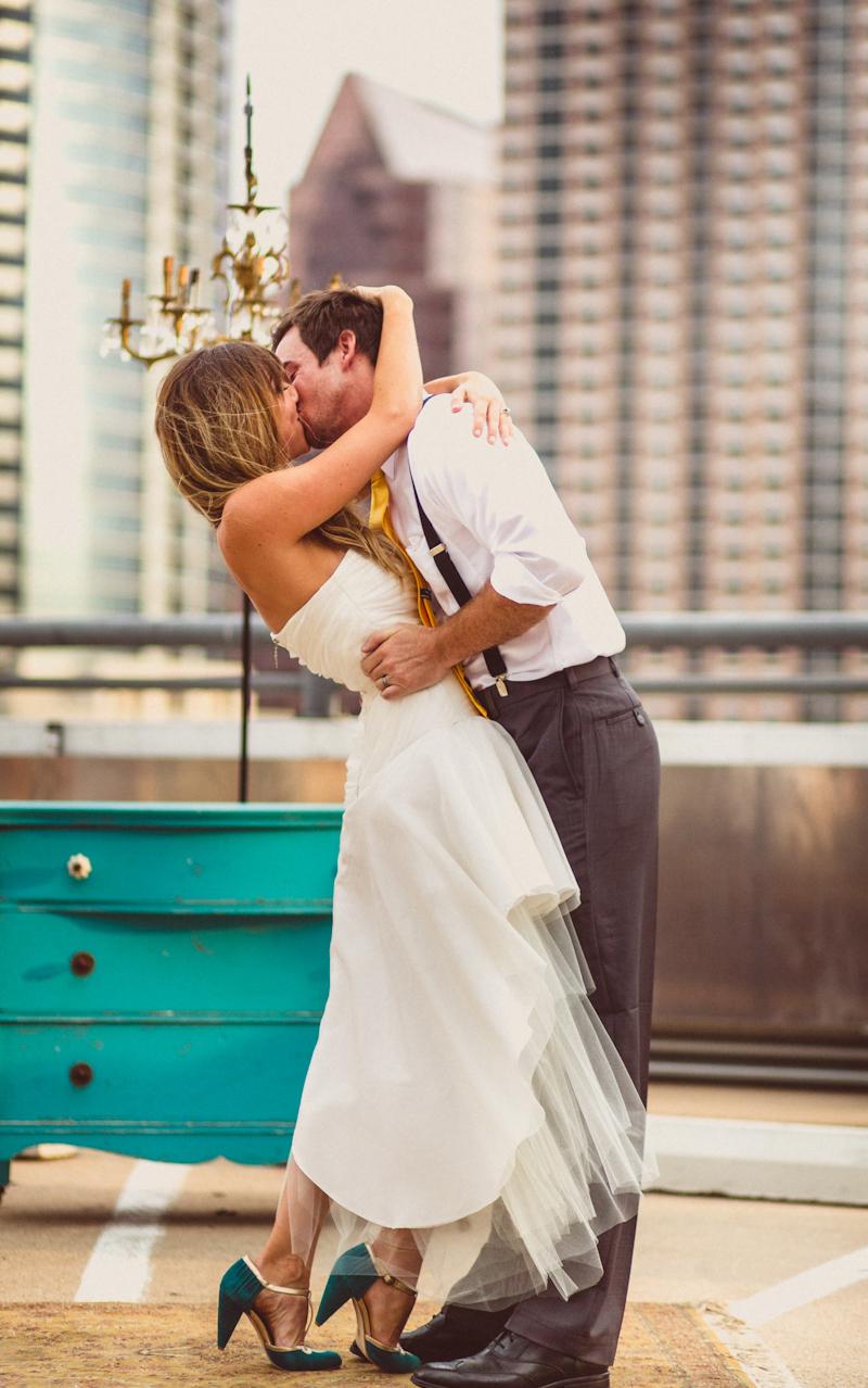 Austin parking deck wedding kiss