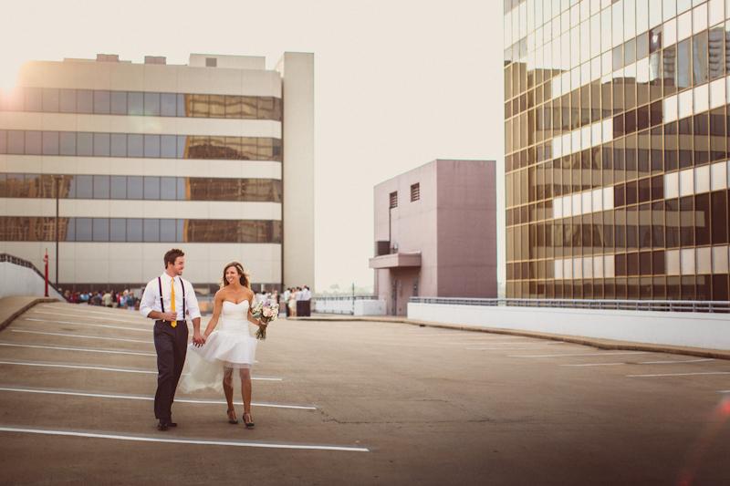 Wedding Portraits on Austin parking garage
