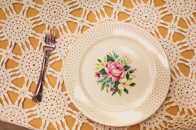 Simple place settings at wedding reception