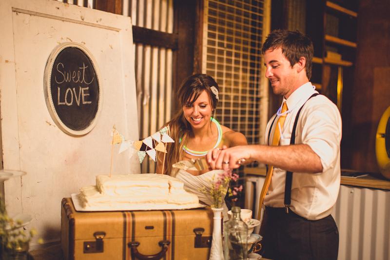 Cake cutting at Pine Street Station wedding