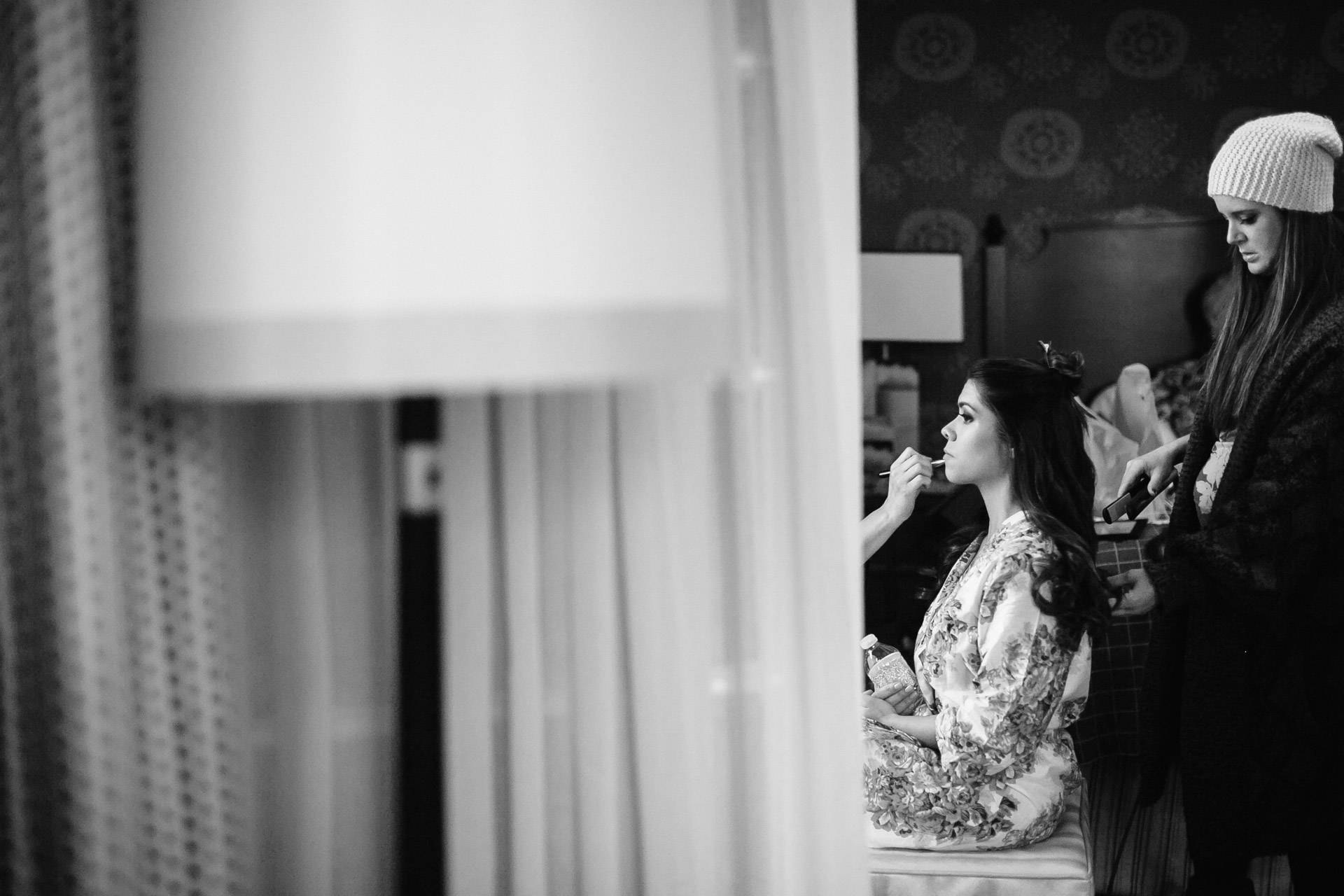 bride gets ready before belmont wedding