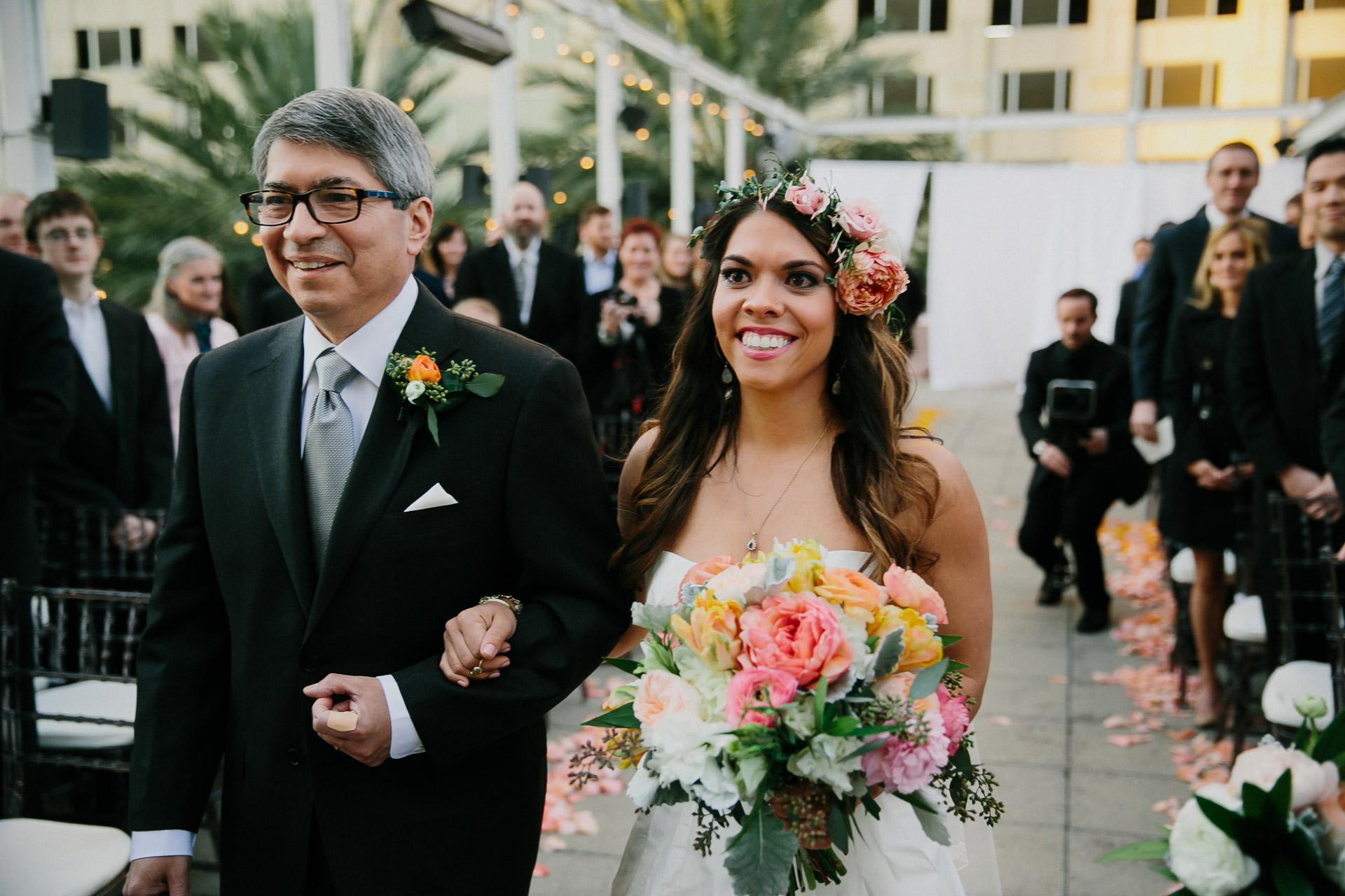 bride walking down isle at belmont wedding