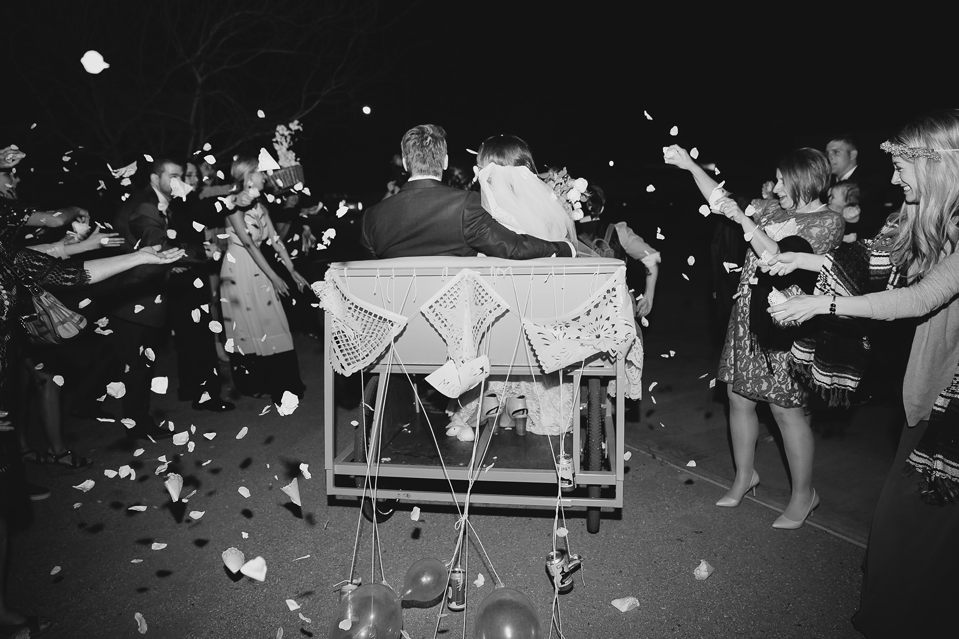 wedding exit on pedicab