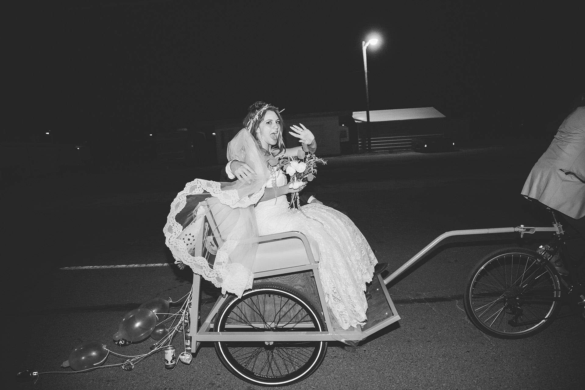 pedicab wedding exit