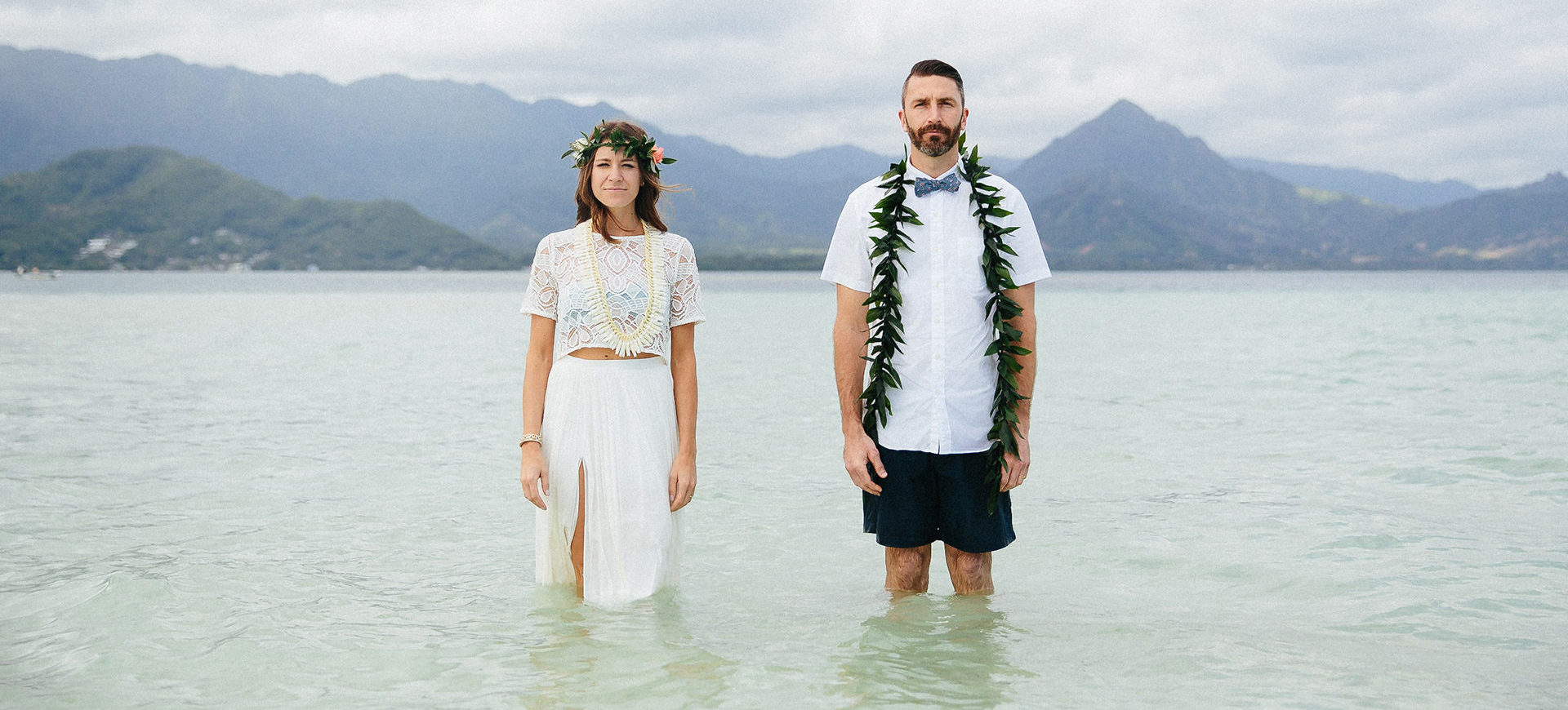 sandbar wedding in oahu